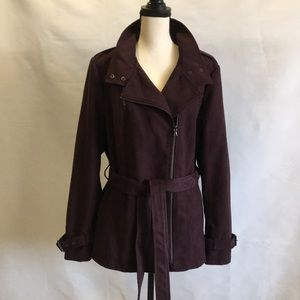 KENNETH COLE NY- Faux Suede Moto Trench
